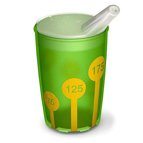 Ornamin Becher mit Anti-Rutsch Skala 220 ml grün/gelb und Schnabelaufsatz (Modell 820 + 806) / Schnabelbecher, Trinkbecher, Kinderbecher