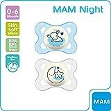 MAM Night Schnuller im Doppelpack, leuchtender Baby Schnuller, besonders weicher Baby Schnuller für schnelle Akzeptanz mit Sterilisier-Transportbox, ab der Geburt, blau