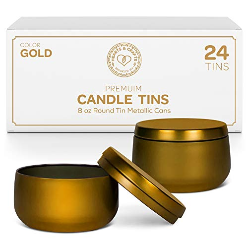 Hearts & Crafts Candle Tin Cans with Lids | 8-oz. Gold Tin Cans, 24-Pack | for Candles, Arts & Crafts, Storage, and More