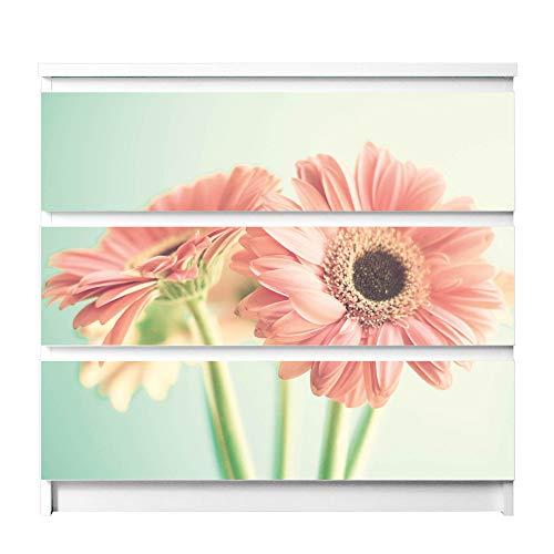 banjado Möbelfolie passend für IKEA Malm Kommode 3 Schubladen | Möbel-Sticker selbstklebend | Aufkleber Tattoo perfekt für Wohnzimmer und Kinderzimmer | Klebefolie Motiv Fünf Gerbera