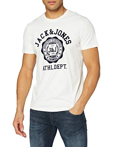 Jack & Jones JJFLOCK tee SS Crew Neck Camiseta, Cloud Dancer/Fit: reg Fit, L para Hombre