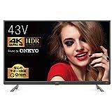 山善 43V型 HDR 4K対応 オンキヨースピーカー搭載 液晶テレビ (裏番組録画 外付けHDD録画 対応) QRT-43W4KS