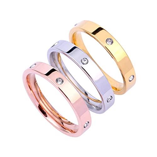 HehiFRlark Anillo de 3 Piezas Life Love Amistad con Piedras de circonita cúbica Anillo de Acero Inoxidable Plata + Oro + Oro Rosa 7