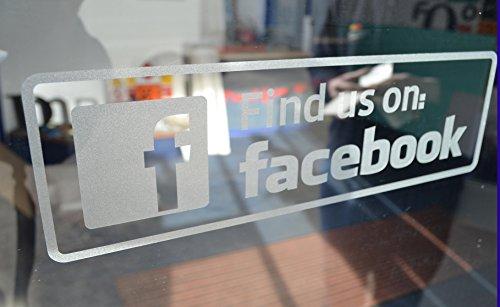 """""""Find us on Facebook""""-Aufkleber mit Ätzglaseffekt für  die Innenbereich-Seite von Glasflächen Lieferumfang enthält zwei Aufkleber."""