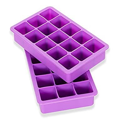 Elbee Home EBH-613 613 Set of 2 Silicone Ice Trays Easy Release Pop Out Makes 30 Cubes, Purple