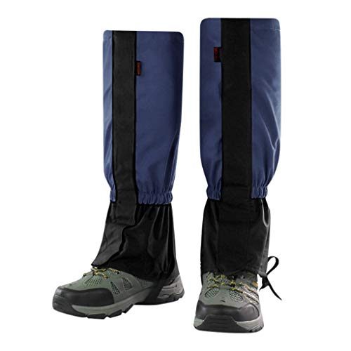 Fine Leg Gaiters Waterproof for Men and Women, Anti-Tear Snow Boot Gaiters Nylon Fabric Breathable Shoe Gaiters for Outdoor Hiking Hunting Climbing (Navy, S)