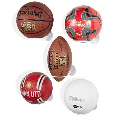 Wallniture Palla Ball Organizer und Ablage für Fußball & Basketbälle Metall Rack 5er Set weiß