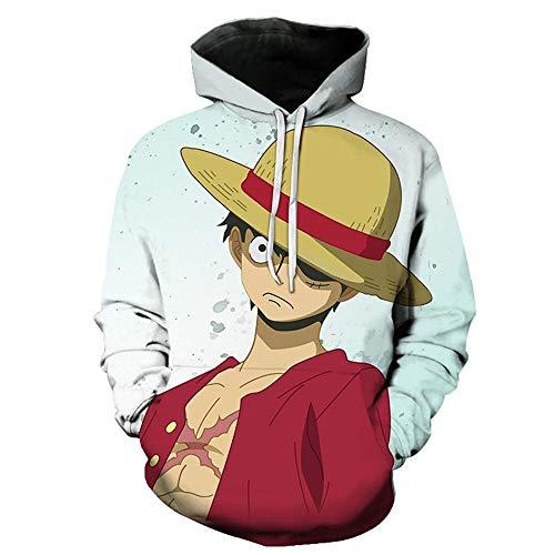 3D-Druck Pullover Kapuzen-Sweatshirt mit Kängurutasche Realistic Anime Hoodie Unisex Neuheit Kapuzenpullover Langarm One Piece-L
