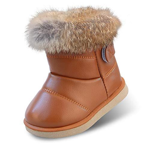 Baby Mädchen Schneestiefel Warme Weiche Winterschuhe Stiefel Snow Boots mit Baumwolle Gefüttert Leder für Kinder Girls, 20 EU (Größe 21 CN), Braun