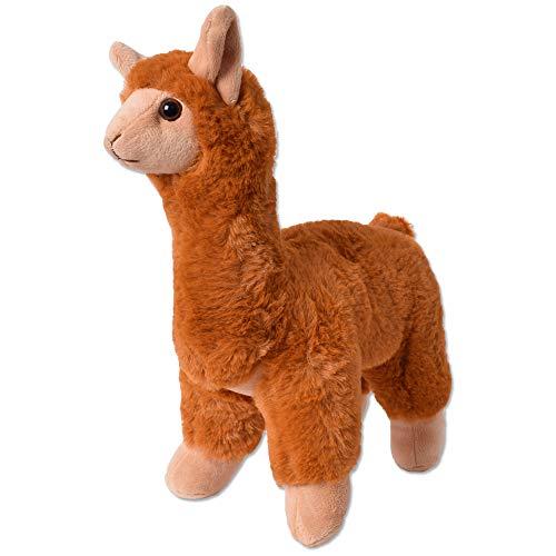 TE-Trend Plüschtier Alpaka Lama Kuscheltier Plüsch Alpaca Stofftier Kinder Spielzeug Geschenk 30cm Braun