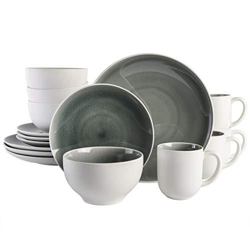 Gibson Elite Serenity Round Reactive Glaze Stoneware Dinnerware Set, Service for Four (16pcs), Grey/White