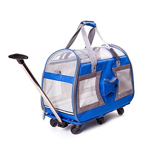 Ryan Pet Trolley Case, huisdier reistas kleine huisdieren Trolley draagtas opvouwbare drager rugzak luxe koffer Outing wandelwagen voor kleine oude hond Puppies huisdier bagage, Blauw