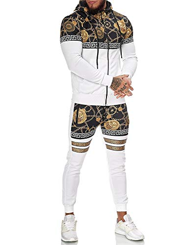OneRedox | Herren Trainingsanzug | Jogginganzug | Sportanzug | Jogging Anzug | Hoodie-Sporthose | Jogging-Anzug | Trainings-Anzug | Jogging-Hose | Modell JG-1425 Weiss XS