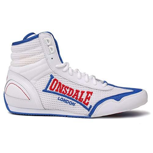 Lonsdale Uomo Contender Boxe Stivali Mid Cut Full Lace Up Leggero Scarpe, Bianco