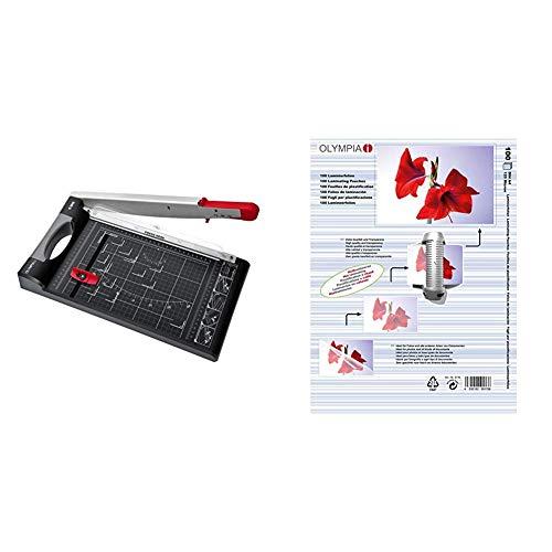 Olympia G 3310 Hebelschneider für Papier, Finger-Schneidschutz, Schwarz & 9176 Laminierfolien, 100 Stück