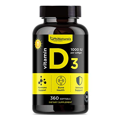 Vitamin D3 1000 IU - Cholecalciferol from Lanolin - Extra Virgin Olive Oil Maximum Absorption - Sunshine Vitamin for Immune and Mood Support - Healthy Bones Muscle Teeth [360 Softgels]