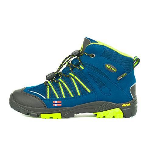 Trollkids Lofoten Wanderschuh Hiker Mid, Blau/Limette, Größe 28