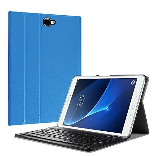 Fintie Tastatur Hülle für Samsung Galaxy Tab A 10,1 Zoll 2016 T580N/ T585N Tablet - Ultradünn leicht Schutzhülle mit magnetisch Abnehmbarer Drahtloser Deutscher Bluetooth Tastatur, Königsblau