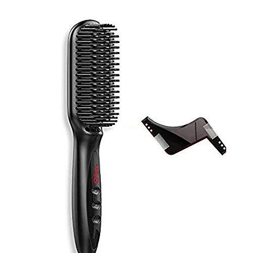 Alisador de barba rápido para hombres, peine y plantilla de barba, ayuda de afeitado con peine para barba, multifuncional, rizador de pelo, peine para barba, pantalla LCD
