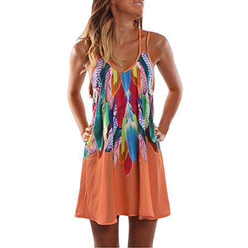 KUDICO Damen Sommerkleid ärmelloses Kleid Boho Lässige Kleidung Maxi Partykleid Strandkleid Cocktailkleid(Orange, S)