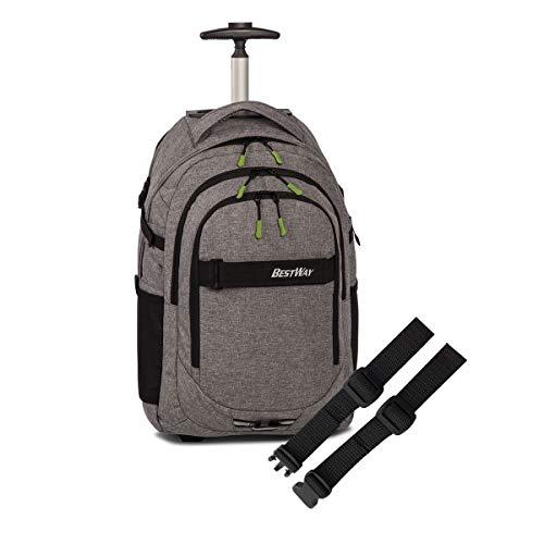 Set BestWay Rucksack- Trolley Schulrucksack Laptoprucksack Daypack + Brustgurt Gurties 21 Ltr. 31 x 51 x 21 cm Gurties 21 Ltr 31 x 43 x 20 cm (grau)