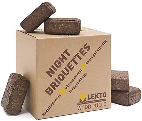 Lekto Woodfuels Night Briquettes | Up to 8 Hour Burn | Compressed Wood Fire Bricks from Sustainable Source | Ideal for Wood Stoves Log Burners Fire Pits Open Fires Pizza Oven (8 x 20kg Minipack)