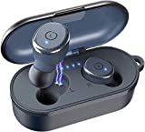 TOZO T10 Bluetooth 5.0 Wireless Earbuds with Wireless Charging Case IPX8 Waterproof TWS Stereo Headphones in Ear Built in Mic Headset Premium Sound with Deep Bass for Sport Blue (Renewed)