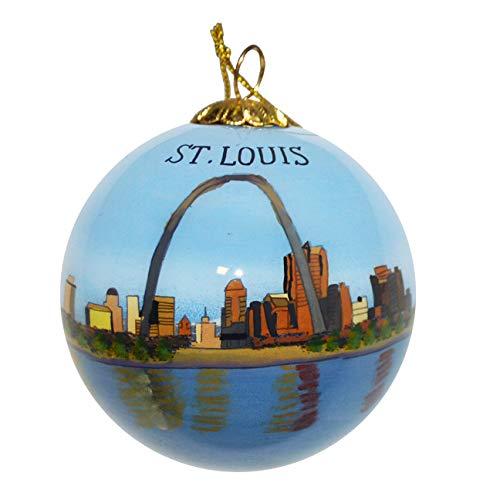 Art Studio Company Hand Painted Glass Christmas Ornament - St Louis Missouri Skyline Gateway Arch