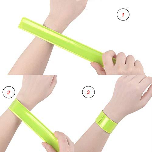 LAKIND 16PCS Reflektorbänder Schnapparmbänder Klatscharmband Sicherheitsband Reflektierend für Jogger und Radfahrer (16pcs) - 4
