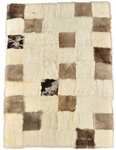 generisch LAMMFELL Plaid ÜBERWURF TAGESDECKE Melange BEIGE180 x 120 cm