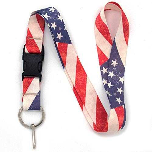 Buttonsmith Old Glory Premium Lanyard - with Buckle and Flat Ring - Made in The USA