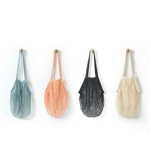 4 Pack Portable Reusable Grocery Bags Fruit and Vegetable Bag Washable Cotton Mesh String Organic Organizer Shopping Handbag Long Handle Net Tote (grey blue,Black,Beige,Pink)