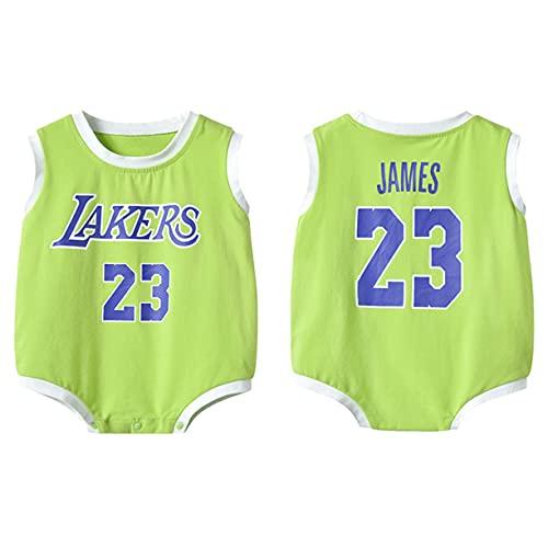DHRBK Mamelucos para recién Nacidos NBA Lakers Lebron James # 23 bebé niño niña Pijama Infantil Lindo Mono con Cuello Redondo Mono de Verano