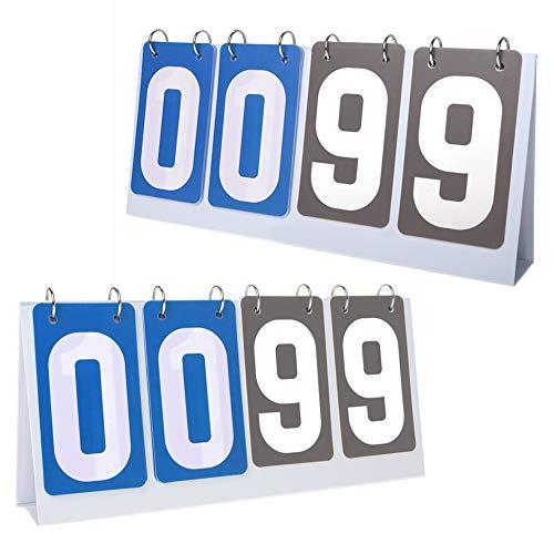 GOGO 2 Sets 4-Digital AnzeigetafelScore Keeper Tragbare PVC-Anzeigetafel aus PVC, Tischtennis Zähltafel, Sportanzeigetafel für Sportwettkämpfe (Blau gegen Graukarte)
