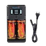 TrustFire TR-019 32650 26650 18650 Akku Ladegerät Intelligent Akkuladegerät - 2 Slots für 25500/21700/20700/18350/16650/14500 Akku Batterien, AC 100-240V/5,5mm DC 12V (Batterie Nicht enthalten)