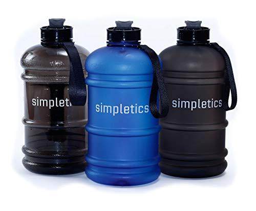 simpletics Trinkflasche 2,2l SPÜLMASCHINENFEST - Die Wasserflasche für Sport, Camping und Bodybuilding - BPA-frei, stabil und auslaufsicher (matt blau (Frosted))