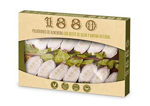 1880 - Polvorones de Almendra com Aceite de Oliva, Calidad Suprema Típico Dulce Navideño Receta Artesanal, Envase Individual Polvorones Tradicionales, 310 Gramoss
