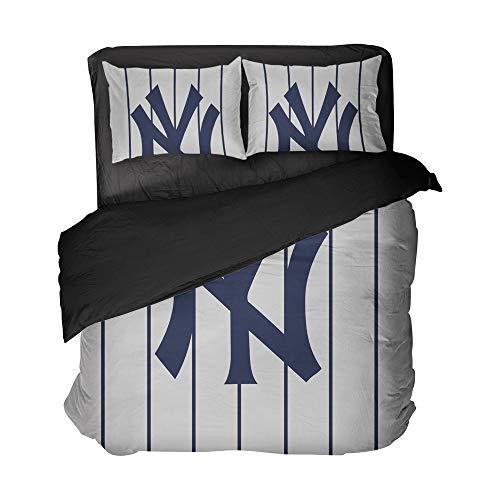 3-teiliges Baseball-Bettwäsche-Set, New York Sport, vertikale Streifen, Bettbezug, Baumwolle mit 2 Kissenbezügen für Jungen