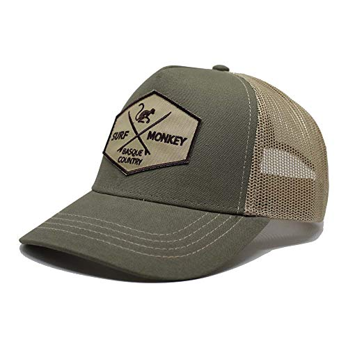 Cappello Tipo Trucker – Visiera ricurva – Design 5 Pannelli – Toppa Cucita Parte Frontale – Chiusura Regolabile Snapback - Verde/Beige Taglia Unica