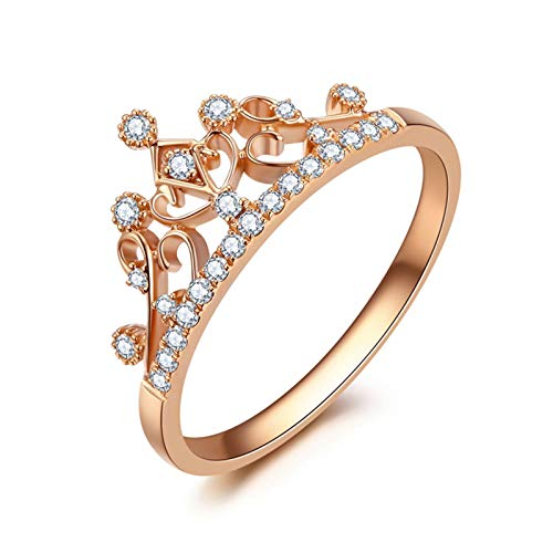 Daesar Anillo de Oro Rosa 18K,Anillos de Compromiso Mujer Oro Rosa Corona Hueca Diamante Blanco 0.13ct Anillo Talla 9,5