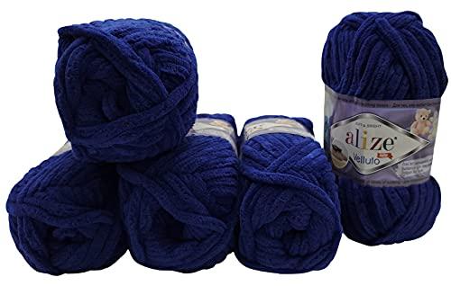 Alize Velluto - 5 ovillos de lana para tejer (100 g, 500...