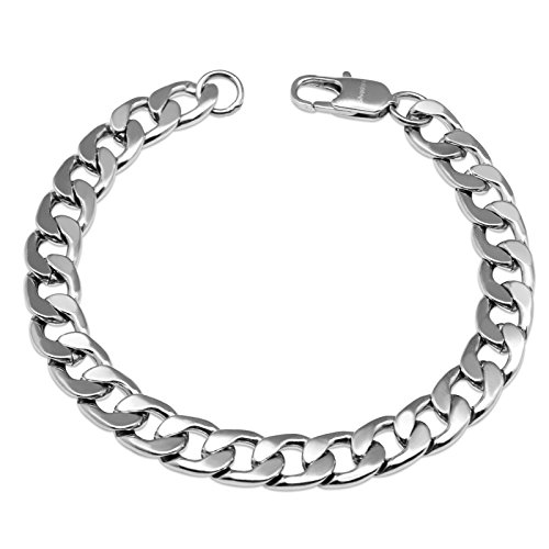 Silvadore 9mm Curb Mens Necklace Silver Chain Cuban - Stainless Steel Jewellery - Neck Link Chains for Men Man Women Boys Kids - 18' 20' 22' 24' - 8mm Bracelet 7.5' 8' 8.5' 9' - Flat 2mm Thick
