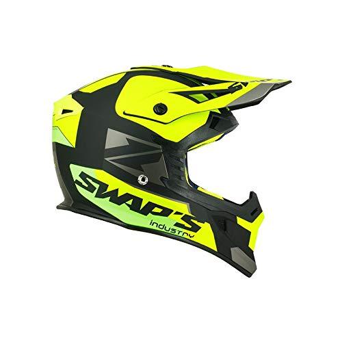 swaps–Casco Moto Cross Blur S818NERO GIALLO FLUO VERDE OPACO–OMOLOGATO ECE R22–05