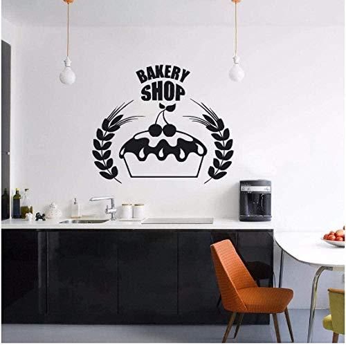 Logotipo de la tienda de panadería, pegatina de pared, decoración, cocina, café, cartel de pared, diseño de pasteles, Mural de pared, calcomanía de vinilo para ventana de panadería, 57X48Cm