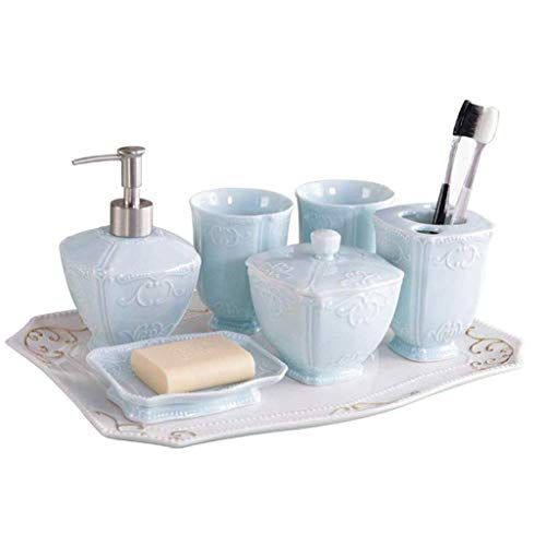 Inicio Equipos Dispensadores de jabón Juego de baño de cerámica de estilo europeo Taza de enjuague bucal Taza de cepillo de dientes Cerámica hermosa cada juego de accesorios de baño con textura úni