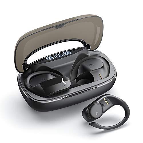 Cuffie Bluetooth Sport, Auricolari Bluetooth 5.0, Auricolari senza fili di qualità audio stereo HiFi 200 ore di riproduzione con custodia di Ricarica Portatile, Adatto per Android e iPhone