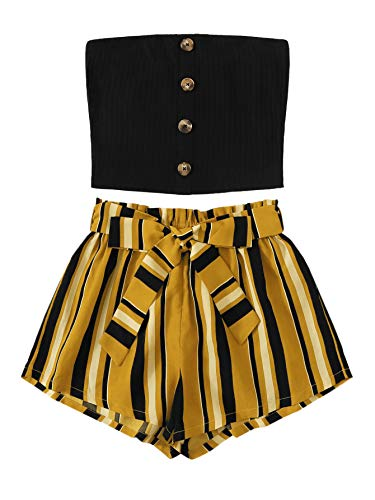 SweatyRocks Women's 2 Piece Outfit Casual Button Front Bandeau Crop Top and Belted Shorts Set Yellow-Black Medium