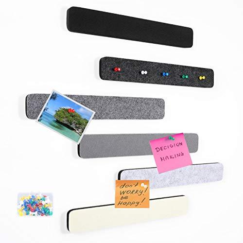 SUEH DESIGN Filz-Pinnwand Bar Streifen, Schwarzes Brett und Notizbrett für das Büro, Dekorative Pinnwand für Kinder 6er-Set mit 35 Druckstiften - 30 cm x 5 cm(Gradient)
