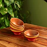ExclusiveLane Indian Red Serves Hand-painted Serving Bowls In Earthen Terracotta (Set Of 4...