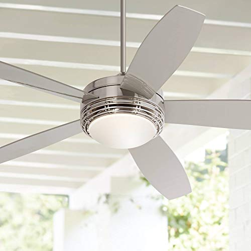"""60"""" Casa Province Outdoor Ceiling Fan with Light LED Remote Control Brushed Nickel Silver Blades Opal Frosted Glass Damp Rated for Patio Porch - Casa Vieja"""